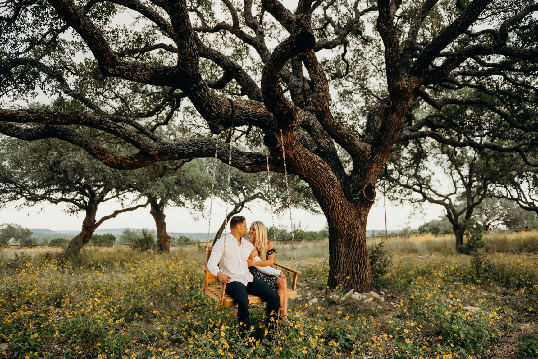 couple in a field under a large tree